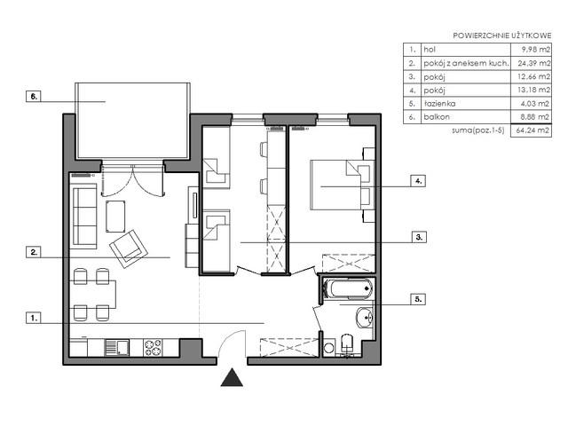 Mieszkanie w inwestycji Signum, budynek Budynek I, symbol B.2.3 » nportal.pl