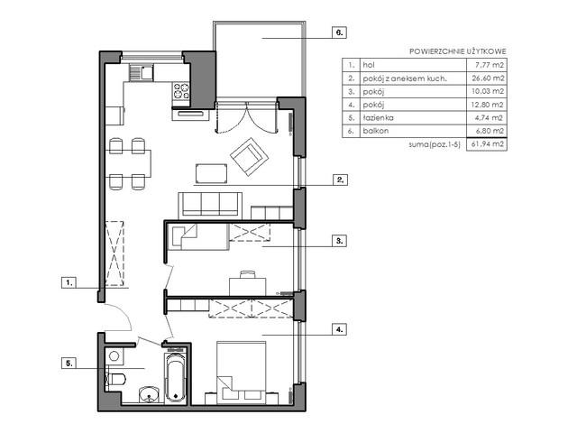 Mieszkanie w inwestycji Signum, budynek Budynek I, symbol B.6.4 » nportal.pl