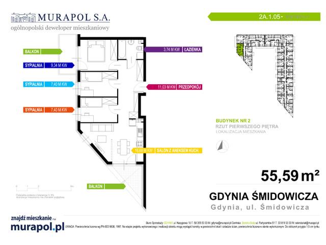 Mieszkanie w inwestycji Murapol Nadmorskie Tarasy, budynek Budynek 2, symbol 2A.1.05 » nportal.pl