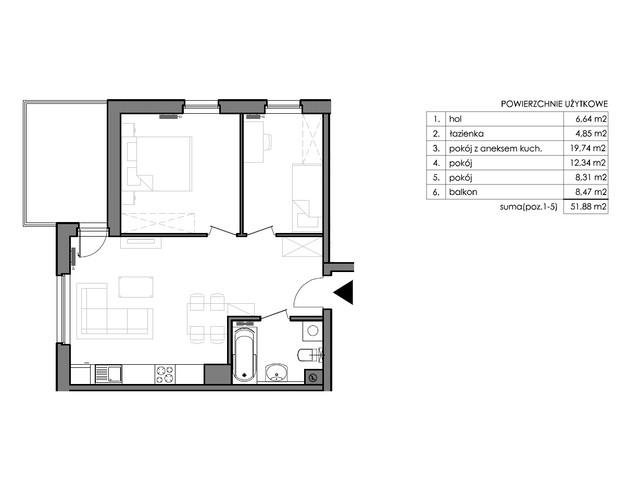 Mieszkanie w inwestycji Signum, budynek Budynek II – Stratus, symbol C.2.5 » nportal.pl
