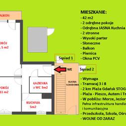 Mieszkanie na sprzedaż, Gdańsk Stogi Wilhelma Stryjewskiego, 229 000 zł, 42 m2, 534-7